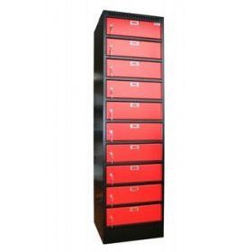 Filex laptop locker voor 10 laptops of tablets - Zwart/rood *OUTLET 1*